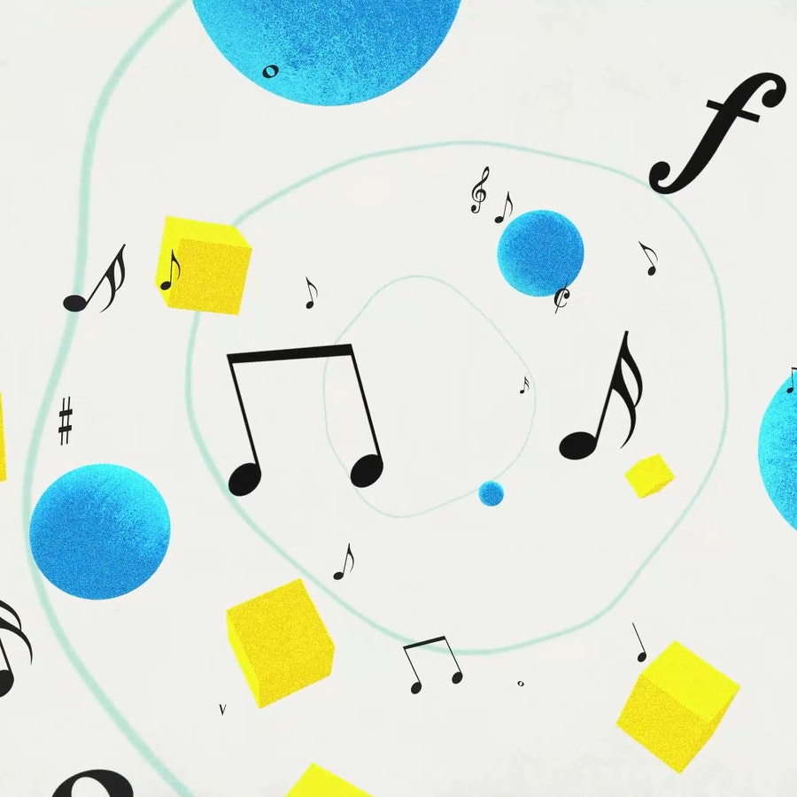 A finished frame from ABRSM Music Theory Animation showing musical notes, turqouise spheres and yellow cubes swirling together