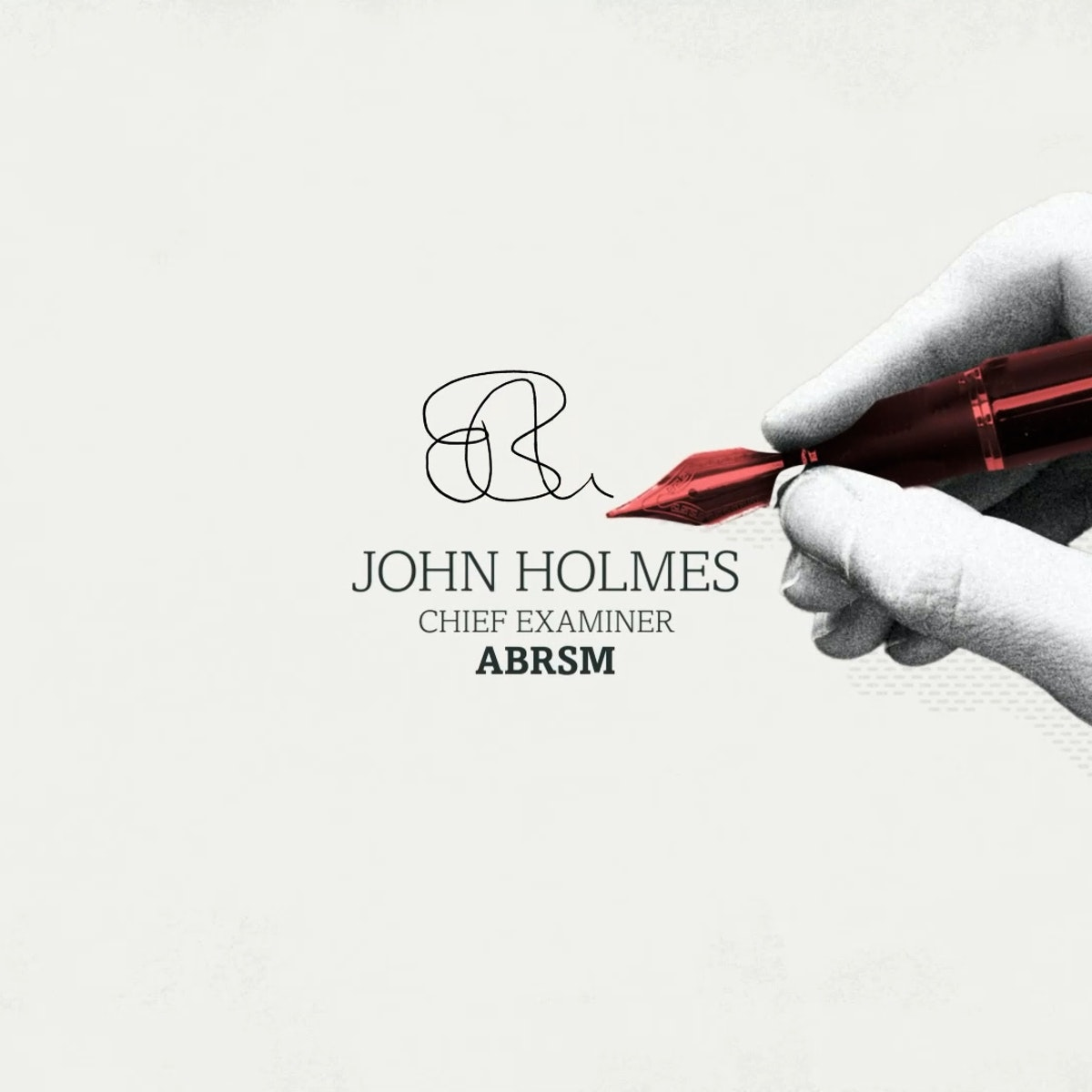 A finished frame from ABRSM Music Theory Animation showing John Holmes signature, with a hand and a fountain pen in front