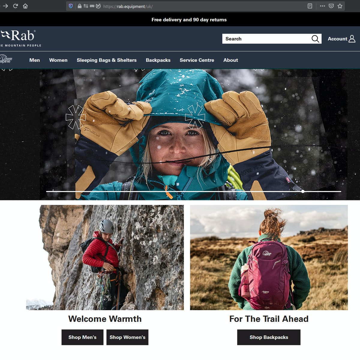 Visual of the rab website showing the AW20 season launch video