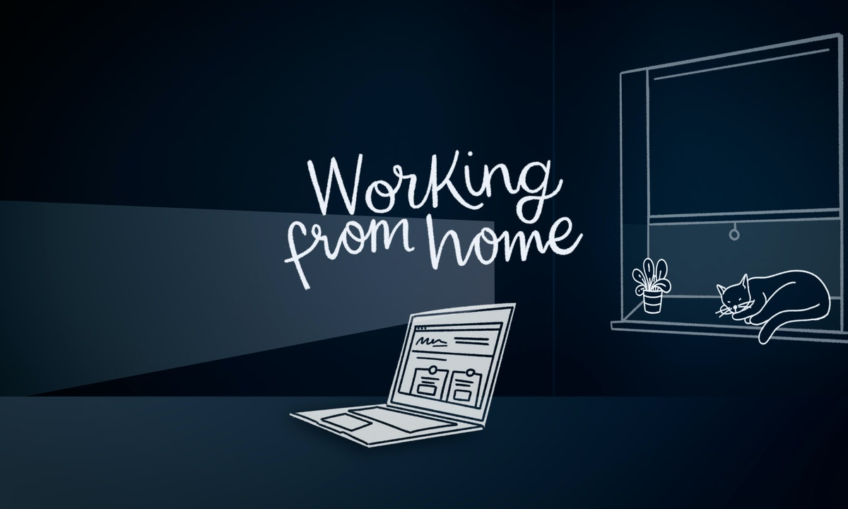 "Medichecks Brand Campaign Still 02 - Laptop and Window with on screen type ""Working from home"""