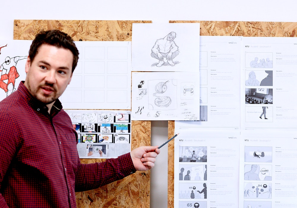 image of neil rostance creative director working on an animation storyboard