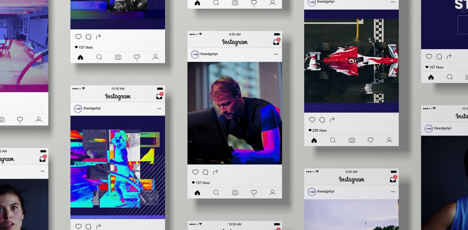 Image of an instagram mock-up for multi-channel animation for the egde