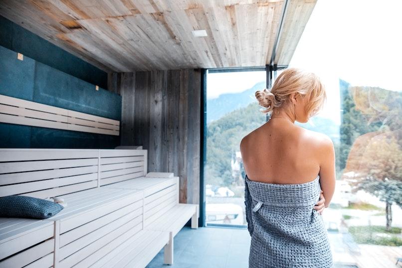 Woman enjoying the sauna
