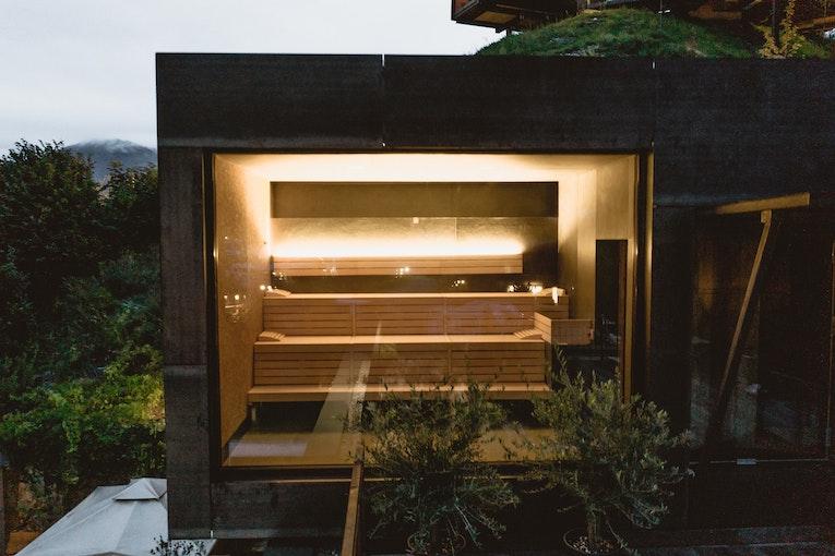 Sauna with a glass wall