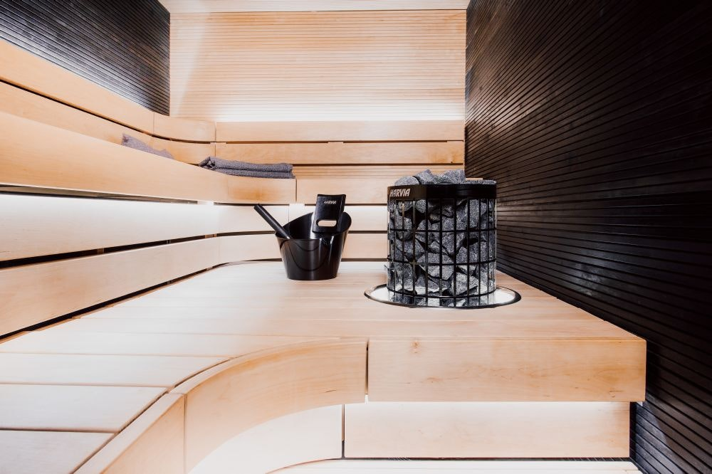 Close-up of black steel electric heater with light colored sauna benches