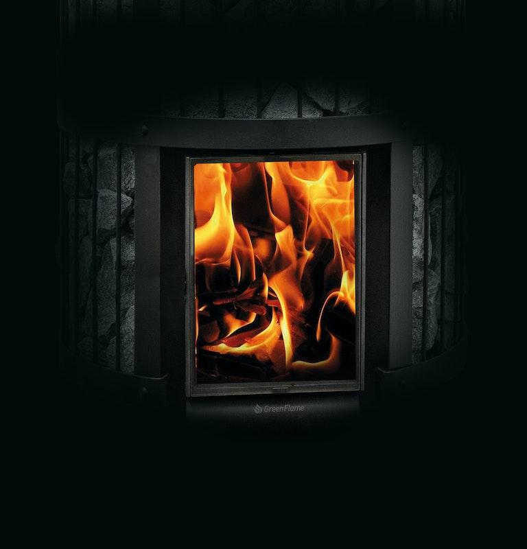 Closeup of the Harvia Legend GreenFlame heater