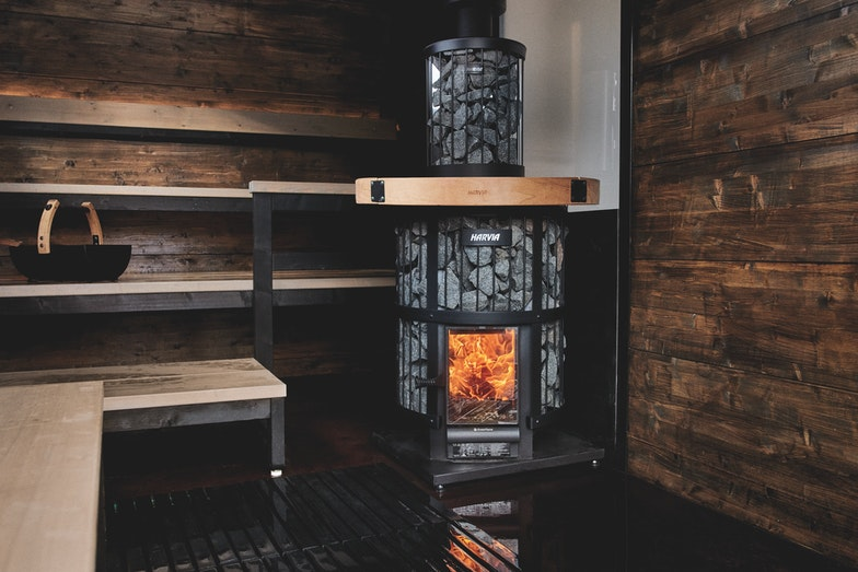 Harvia Solide sauna with Legend GreenFlame woodburning heater