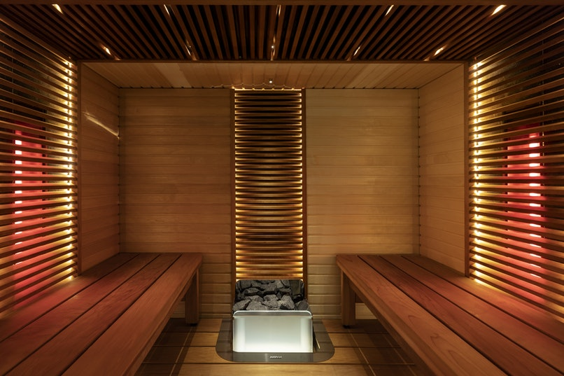 Harvia hybrid sauna with The Wall heater