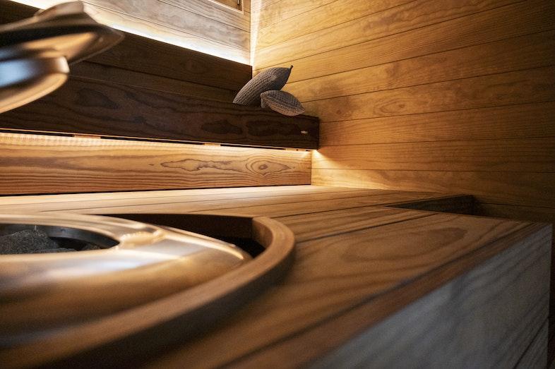 Sauna bench closeup
