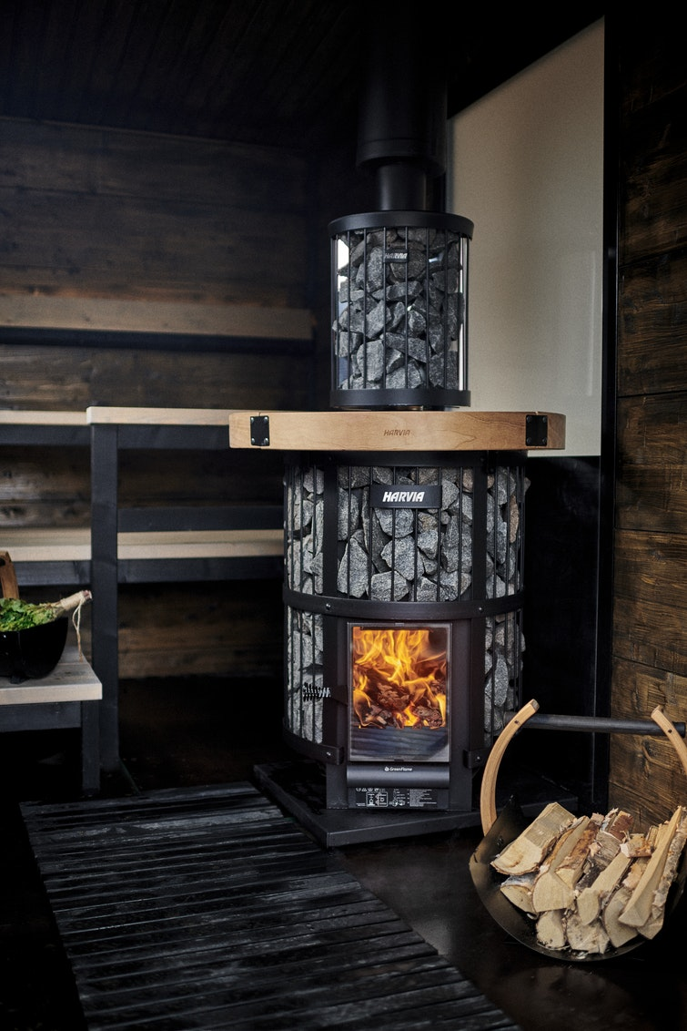 Harvia Legend GreenFlame in a Solide Outdoor Sauna