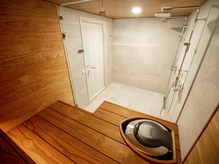 Harvia Block sauna interior Forte electric heater