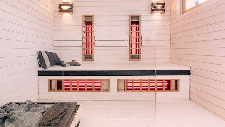 Harvia infrared panels in a hybrid sauna