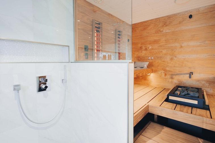 Harvia Block Sauna with Virta electric heater infrared panels