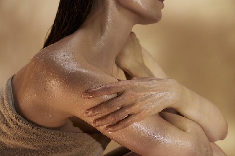 woman enjoying sauna