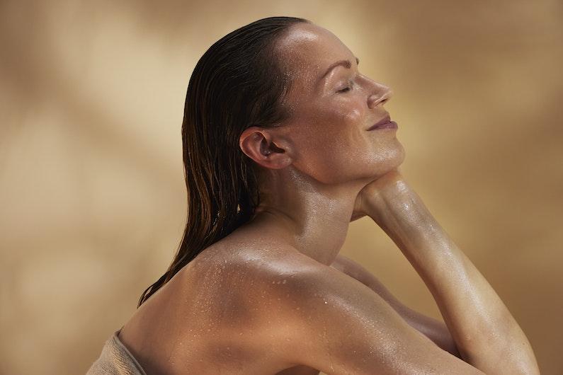 woman enjoying steam