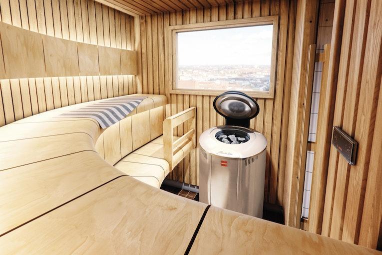 Harvia Ventura sauna with steel color Forte electric heater