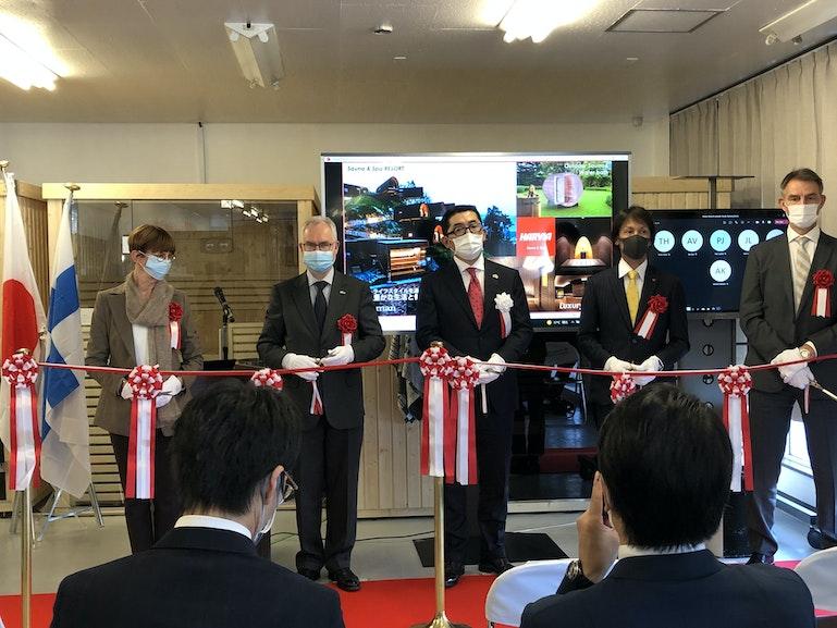 Embassy of Finland with Bergman LTD's CEO Seiji Kasama and Harvia's Japanese brand ambassador Noriaki Kasai at Harvia Showroom opening ceremony in Sapporo Japan