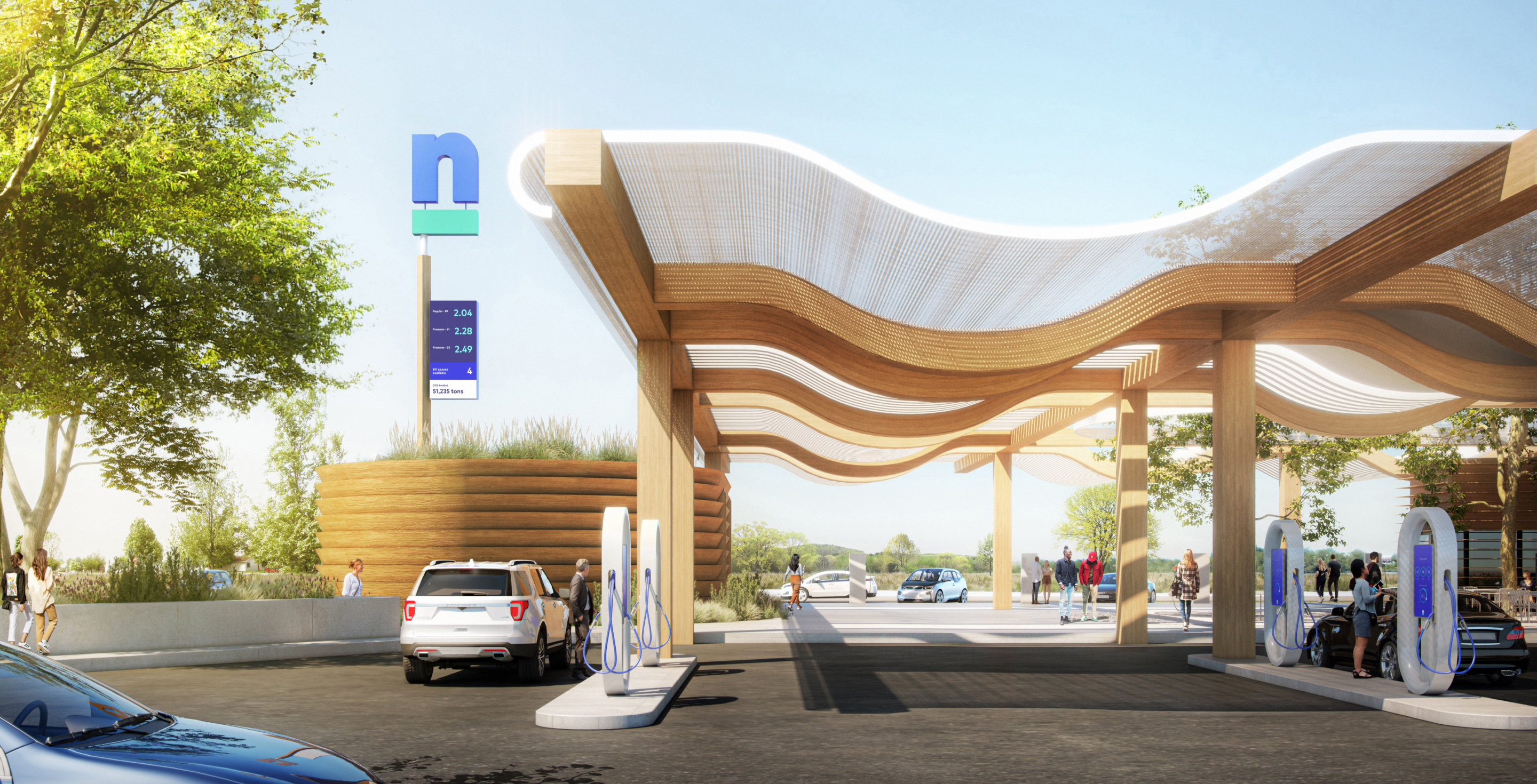 A photo-realistic rendering of the pumps at the future Nacero gasoline station