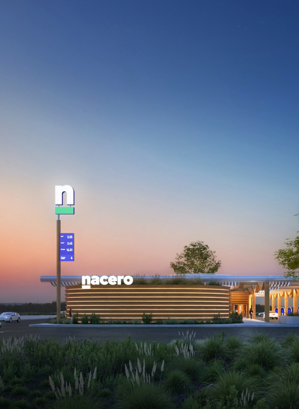 A photo-realistic rendering of the future Nacero gasoline station at dusk