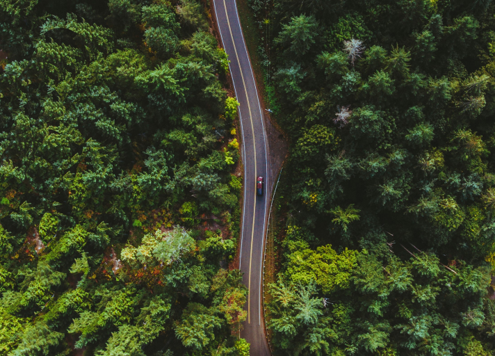 A bird's eye view photo of a car driving down a winding, heavily forested road