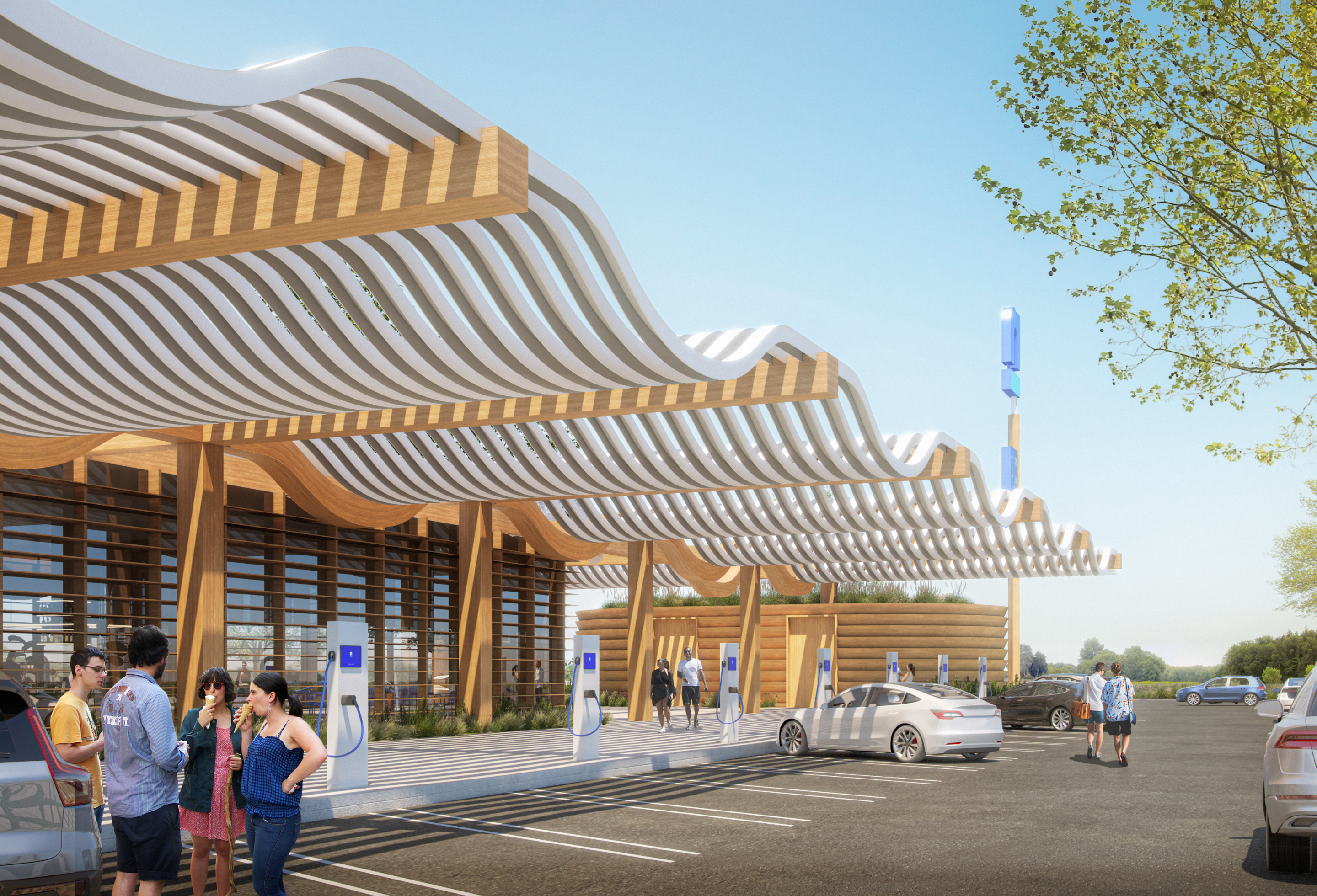 A photo-realistic rendering of the EV charging station at the future Nacero gasoline station