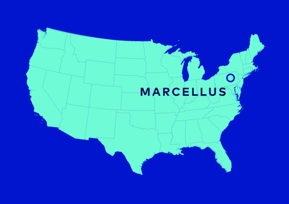 A map of the United States with a location marker on Marcellus