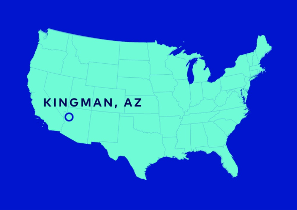 A map of the United States with a location marker on Kingman, AZ