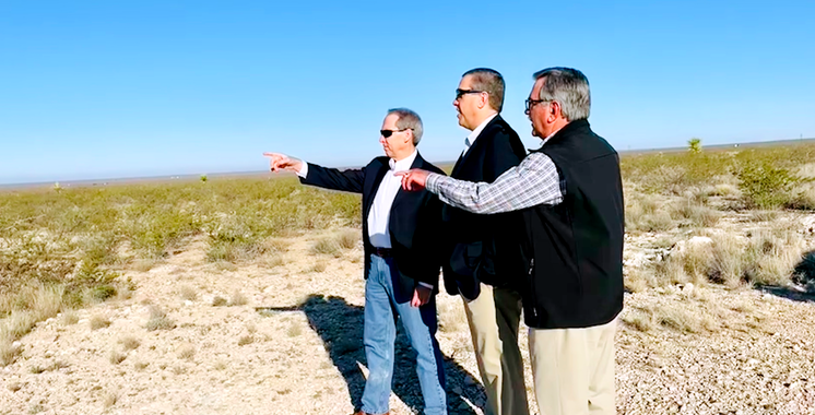 Hal Bouknight, COO, and George Andrush, Director of Plant Operations, from Nacero with John Landgraf, President at LCA, at Penwell Site