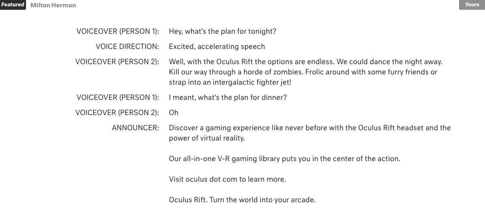 Oculus Rift Script