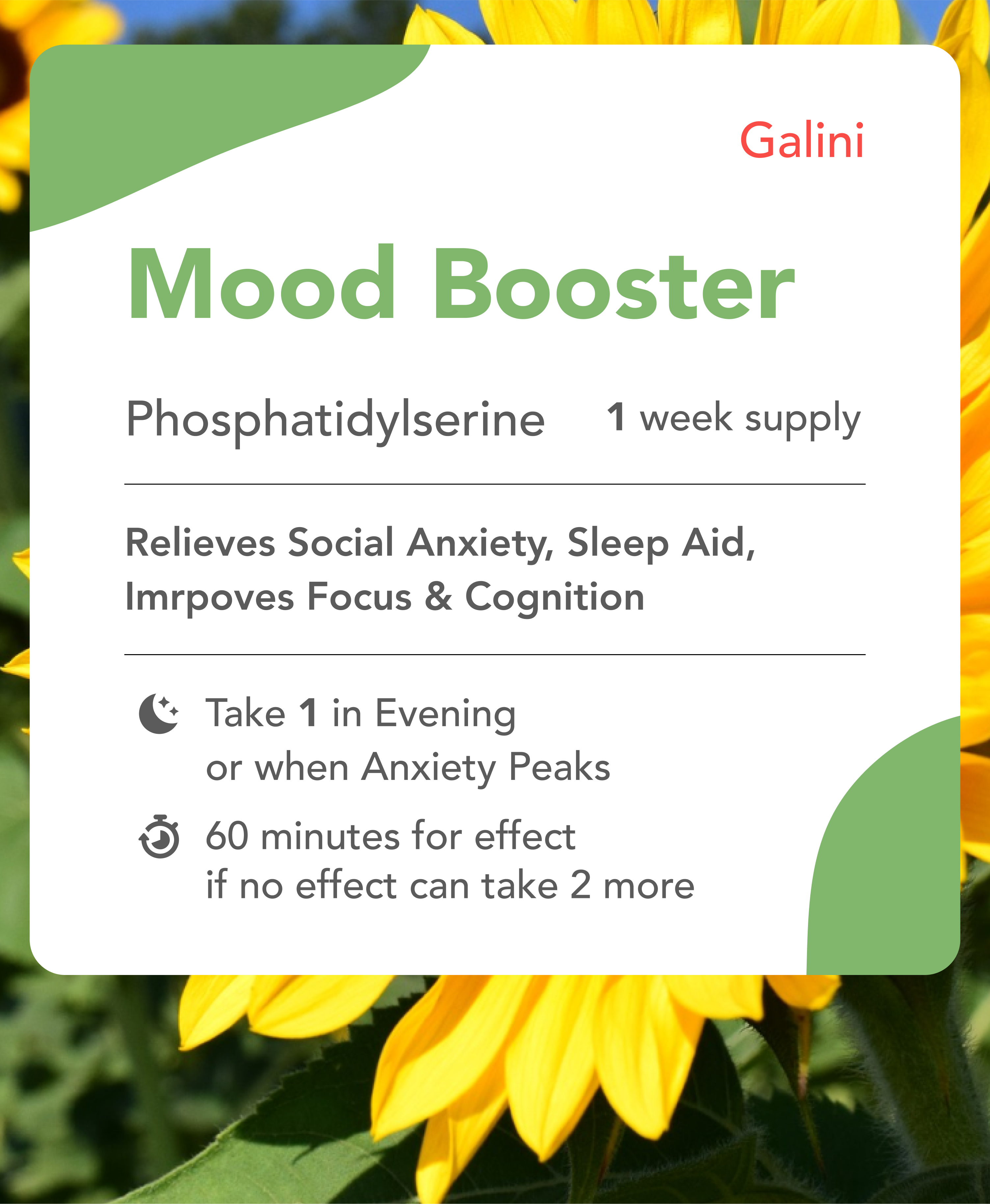 Mood booster supplement containing Phosphatidylserine with nature background