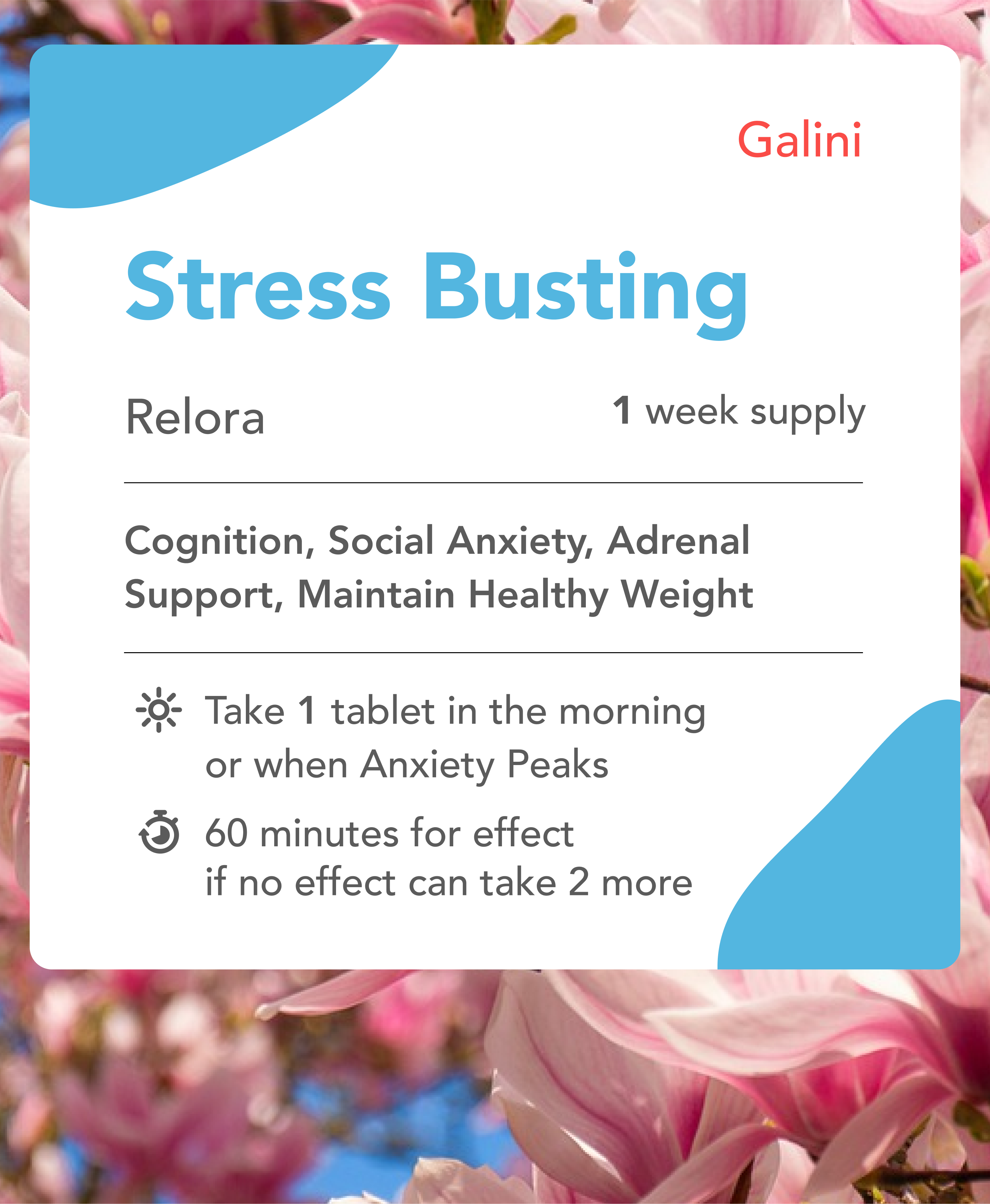 Stress busting supplement containing Relora with Nature Background