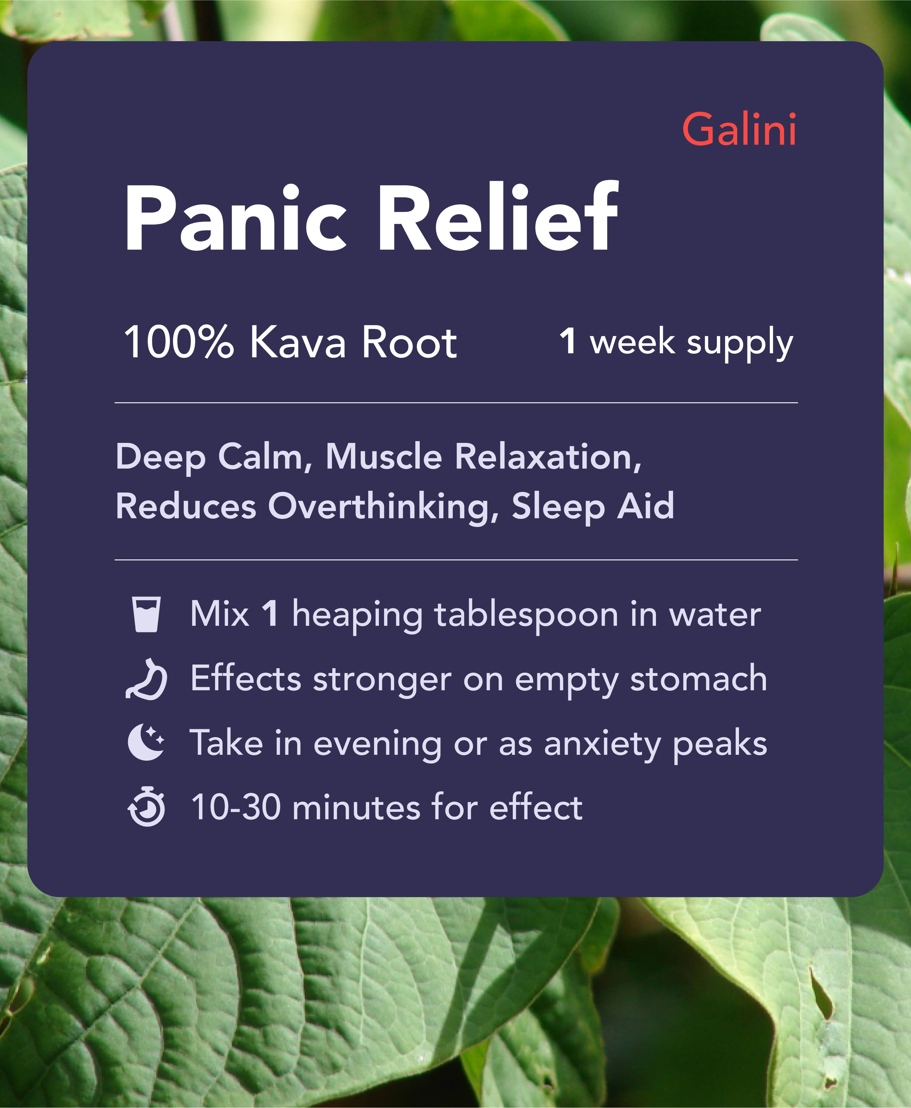 Panic Relief supplement containing Kava Kava root with nature background