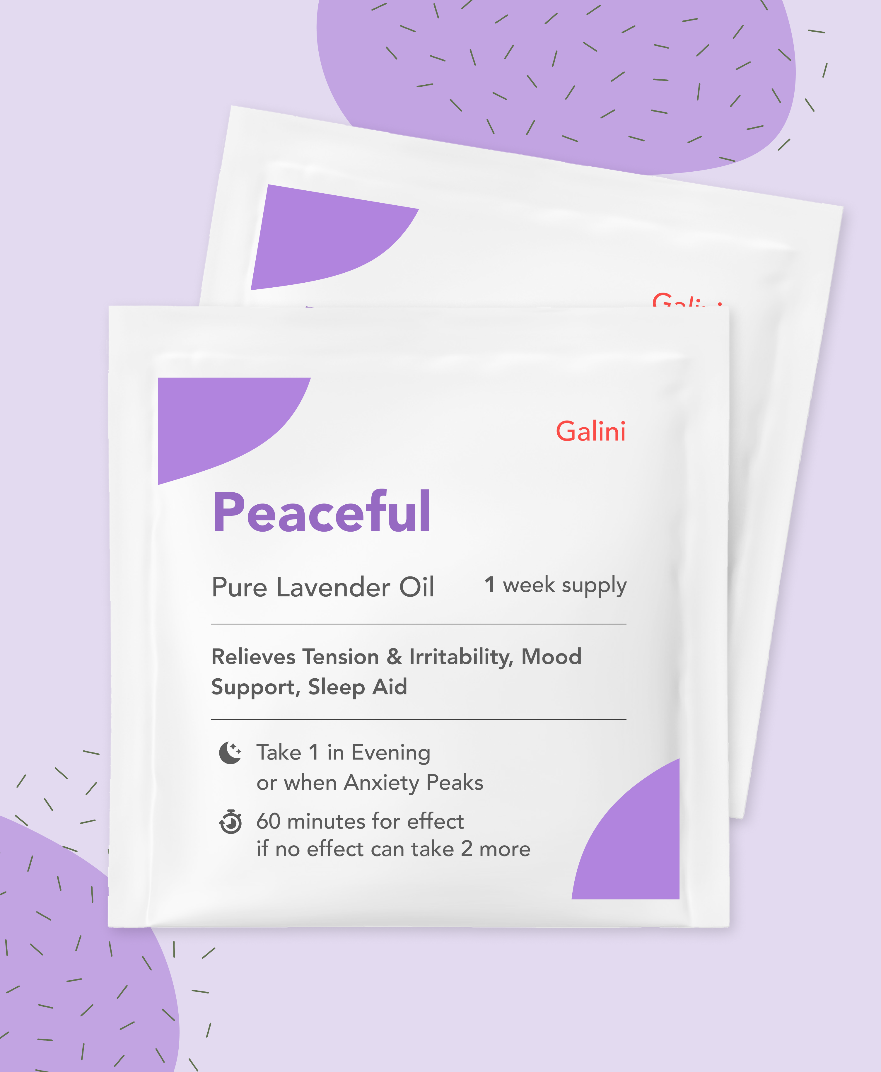 Peaceful supplement containing Lavender oil