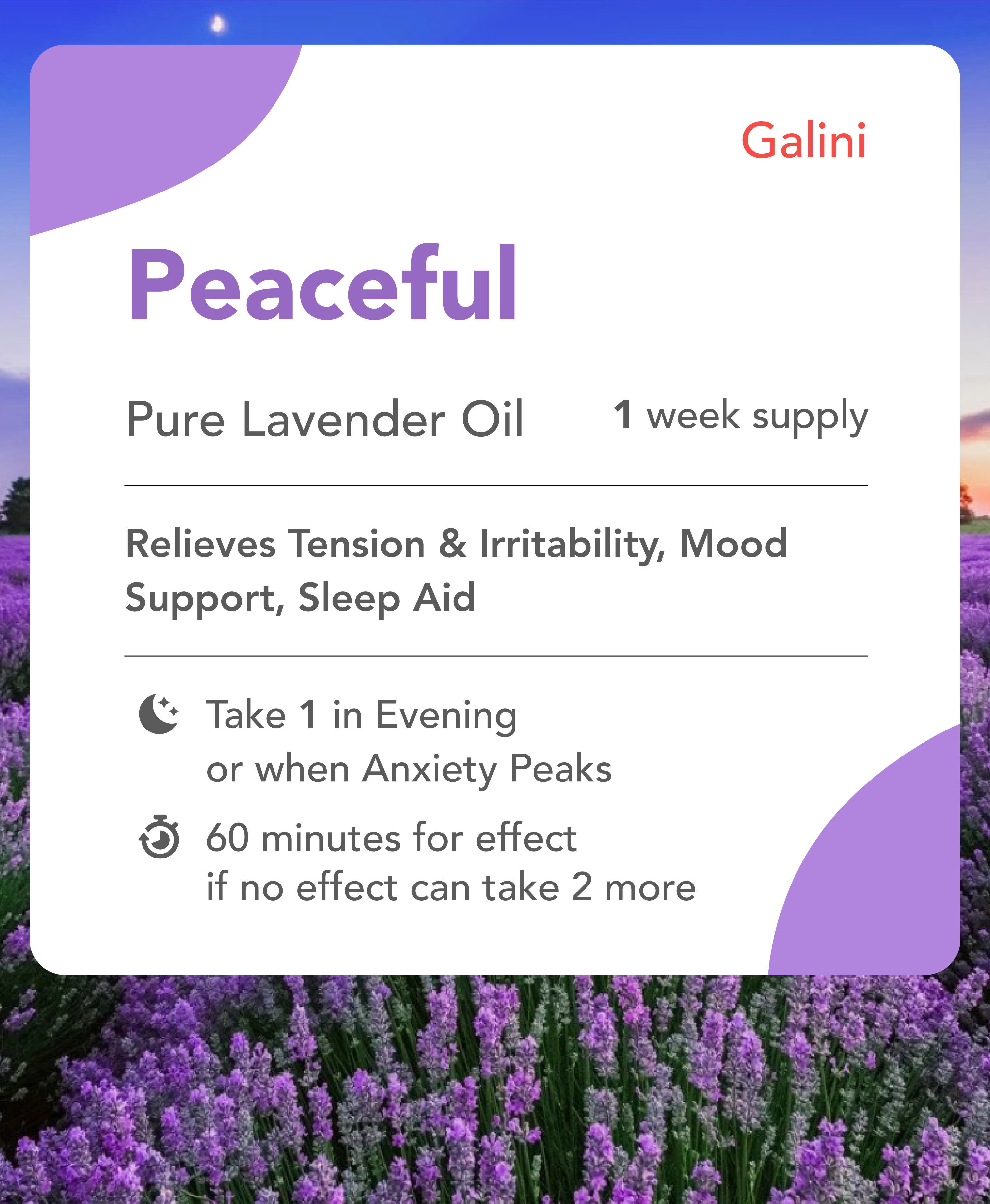 Peaceful supplement containing Lavender oil with nature background