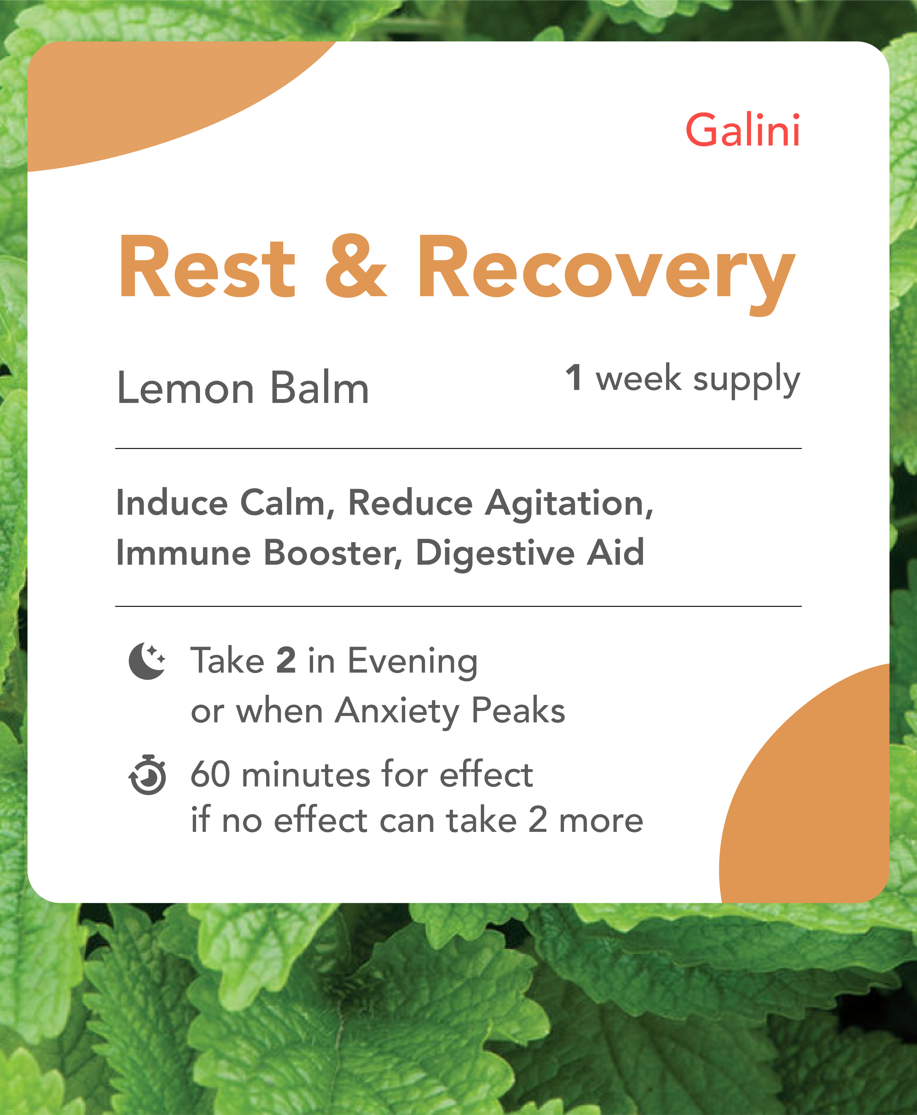 Rest and Recovery supplement containing Lemon Balm with Nature Background