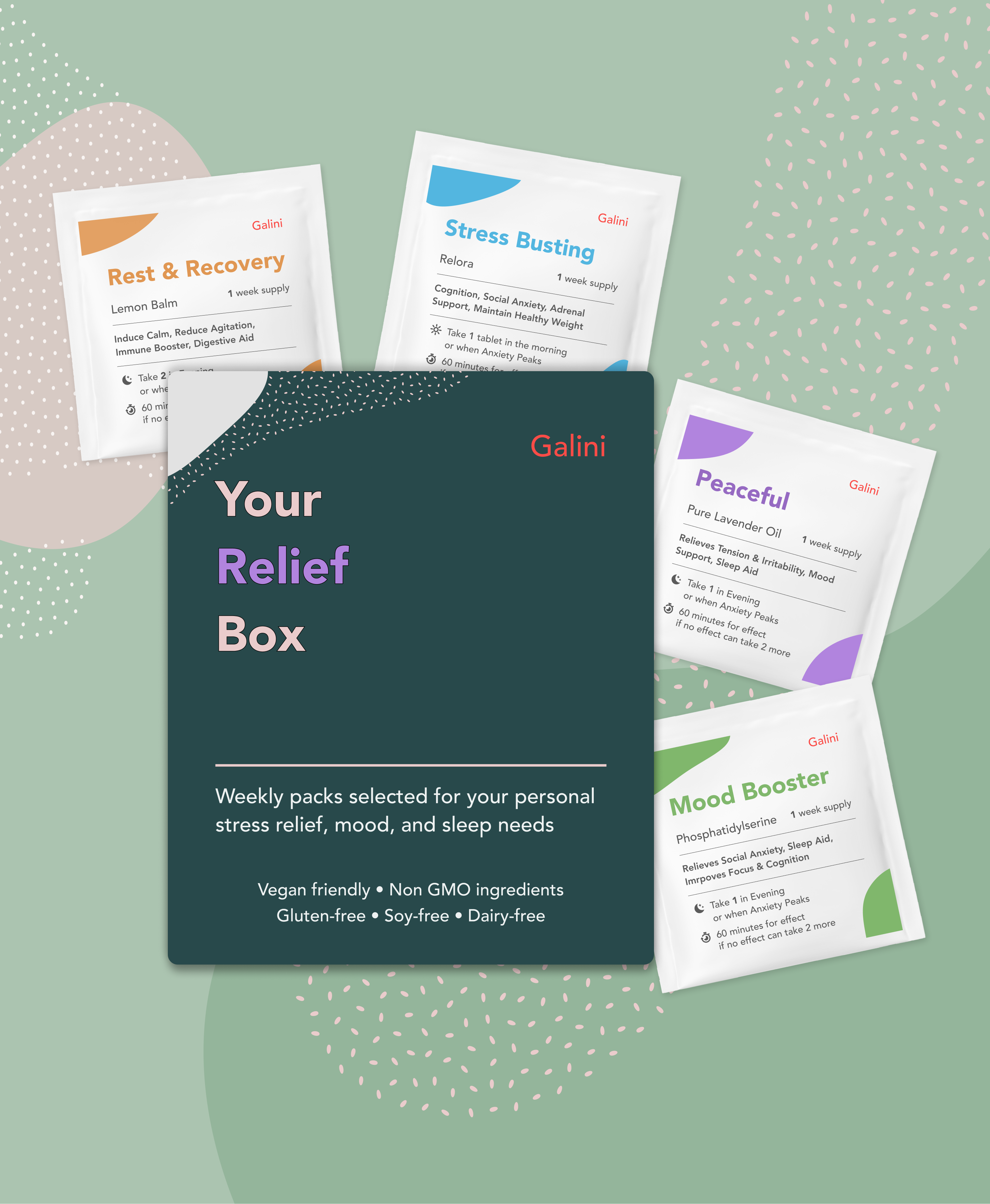Relief package for stress relief with four weeks supply of supplements