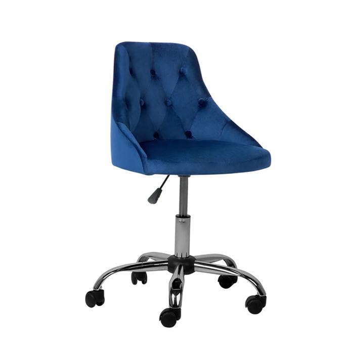 Bureaustoel met wielen kobaltblauw fluweelstof PARRISH