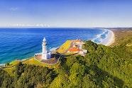 Ariel view of Cape Byron lighthouse, Byron Bay