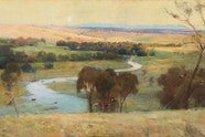 Arthur Streeton, 'Still glides the stream, and shall for ever glide' 1890 (detail)