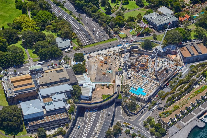Ariel view of construction of the Sydney Modern Project