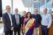Michael Brand, John Kaldor AO, Joanna Capon OAM, 2017 Edmund Capon Fellowship recipient Vandana Sinha, Edmund Capon AM, OBE, Hamish Balnaves.