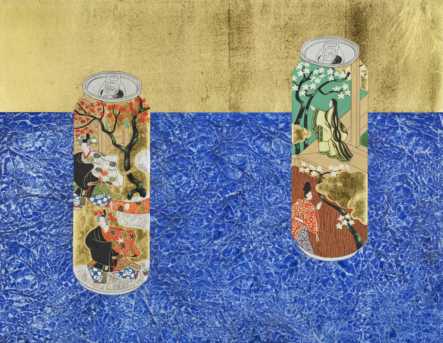 Yamamoto Tarō 'Cans decorated with scenes of chapters 'Young Murasaki' and 'Beneath the autumn leaves' from 'The Tale of Genji' on blue carpet' 2011
