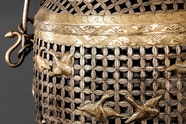 Basket decorated with flying geese, gilded silver
