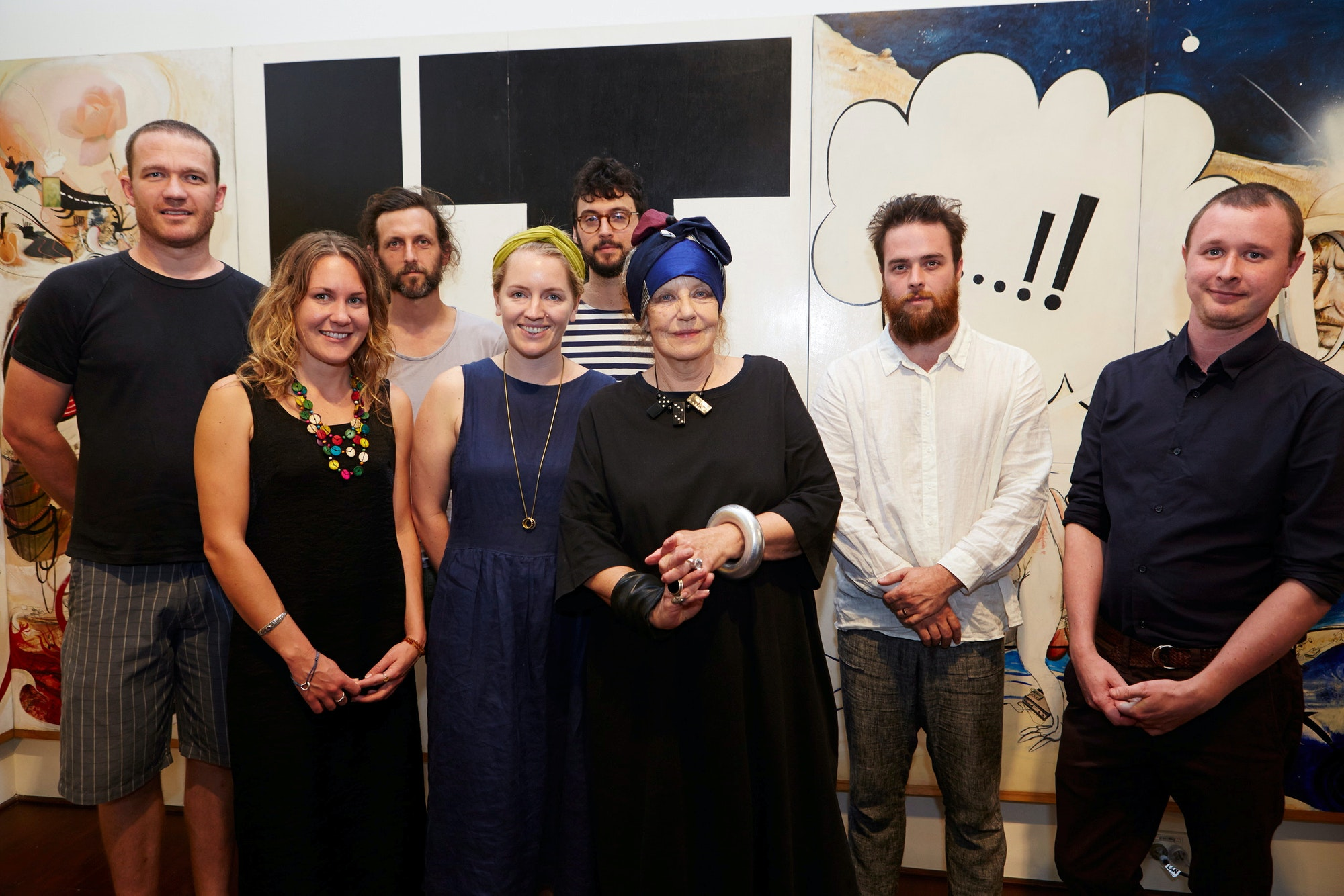 Previous winners of the Brett Whiteley Travelling Art Scholarship with Wendy Whiteley (left to right): Alan Jones, Nicole Kelly, Nathan Hawkes, Becky Gibson, Belem Lett, Wendy Whiteley, James Drinkwater, Mitch Cairns