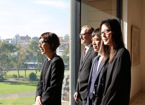 Left to right: Kazuyo Sejima, Ryue Nishizawa and Yumiko Yamada from SANAA with Art Gallery of NSW director Michael Brand (second from left)
