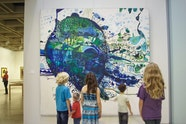 Young visitors with John Olsen's 1963 painting Five bells