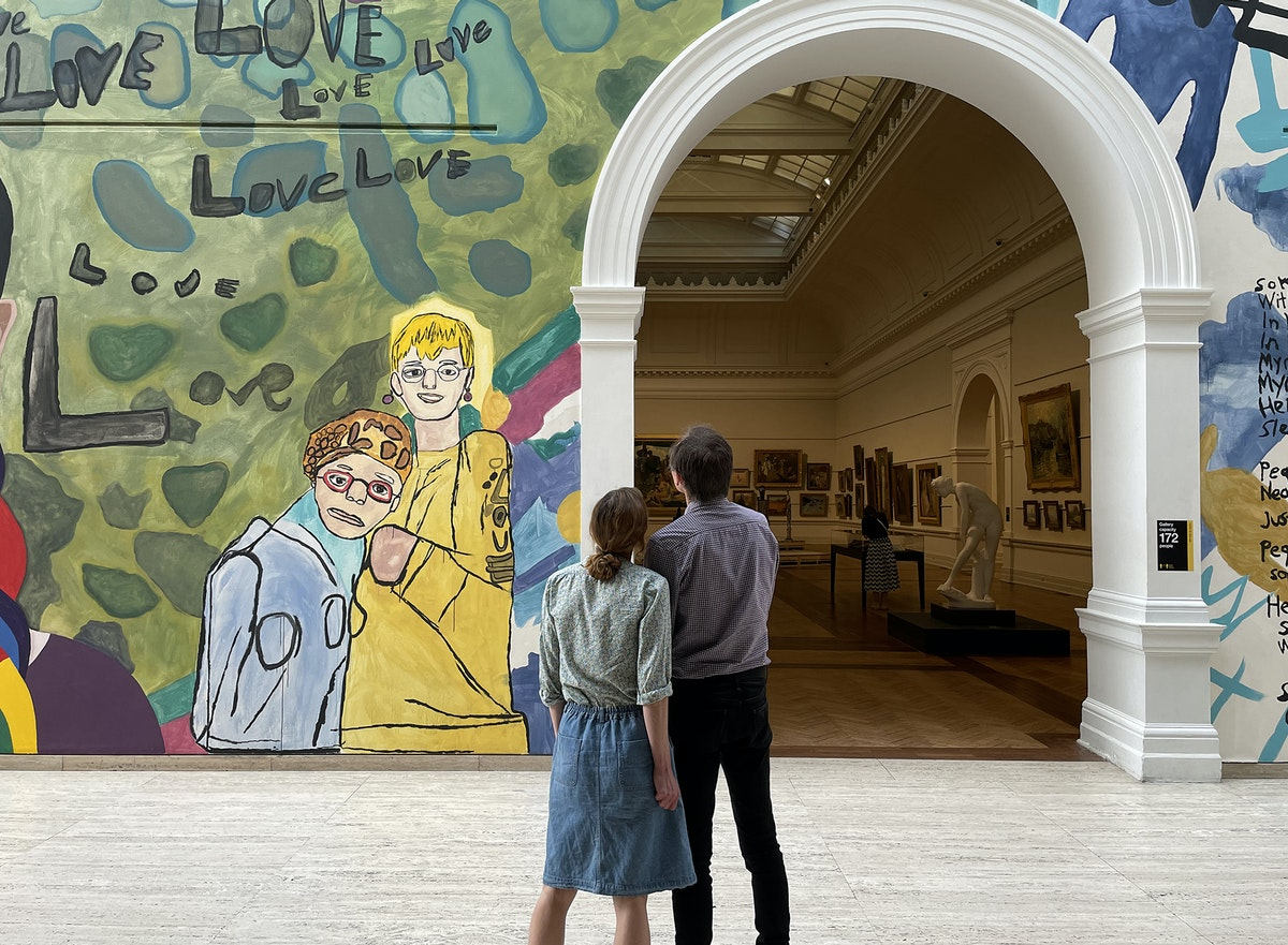 Members viewing Studio A 'Love owls and mermaids singing in the rainbow pop' 2020 (detail), created for 'Archie Plus'