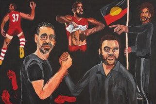 Vincent Namatjira Stand strong for who you are (detail), Archibald Prize 2020 winner