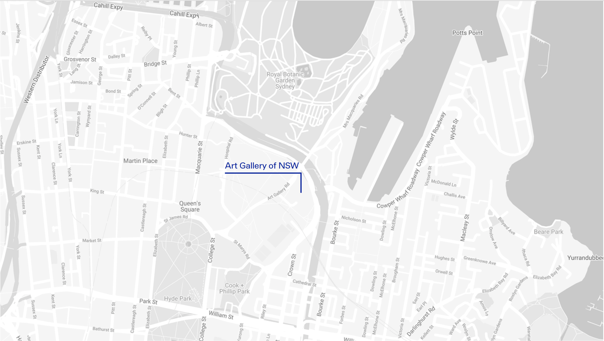 black and while Map showing the location of the Art Gallery of NSW