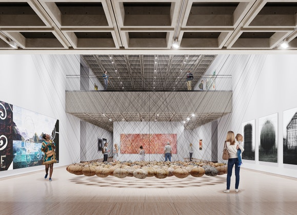 Image of theArt Gallery of New South Wales as produced byMogamma for Tonkin Zulaikha Greer Architects © Mogamma. Featuring artworks left to right: Imants Tillers,Counting: one, two, three, 1988 © Imants Tillers; Ken Unsworth,Suspended stone circle II, 1974-77, 1988 © Ken Unsworth; Emily Kame Kngwarreye,Untitled (Alhalker), 1992 © Emily Kame Kngwarreye; Idris Khan,every… Bernd & Hilla Becher Prison Type Gasholder every… Bernd & Hilla Becher Spherical Type Gasholder every… Bernd & Hilla Becher Gable Sided House, 2004, printed 2005 © Idris Khan, courtesy Victoria Miro Gallery, London.